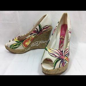 Ed Hardy Casablanca Perp Toe Wedge Heel Shoes